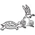 #61719 Clipart Of A Tortoise And Hare In Black And White - Royalty Free Vector Illustration by JVPD