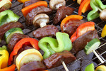 Free Picture of Veggies and Meat on Skewers on a BBQ