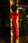 Free Picture of Red Bow, Garland and Christmas Lights