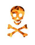 Free Picture of Flaming Skull and Crossbones