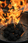 Free Picture of Burning Charcoal Briquettes