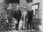 Free Picture of President and Mrs. Coolidge With Their Sons and Dog