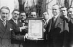 Free Picture of The Italian Republican League Giving Coolidge Lincoln