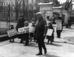 Free Picture of Textile Workers and Children Picketing