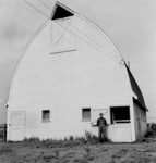 Free Picture of Farmer and His New White Barn