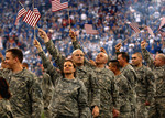 Free Picture of Soldiers Waving American Flags