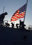 Free Picture of Raising the American Flag on a Missile Cruiser