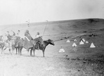 Free Picture of Atsina Indians on Horses, Overlooking Encampment