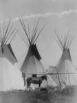 Free Picture of Horse Near Three Tipis, Crow Agency, Montana