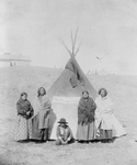Free Picture of Sitting Bulls Family in Front of Tipi