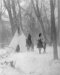 Free Picture of Apsaroke Camp in Winter, People on Horses