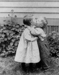 Free Picture of Little Boy and Girl Kissing