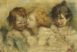 Free Picture of Three Children, One Kissing Another