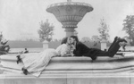 Free Picture of Couple Near a Fountain, Kissing