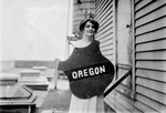 Free Picture of Margaret Howe Holding Oregon Shield