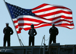 Free Picture of Sailors With American Flag
