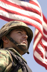 Free Picture of Soldier and American Flag