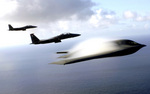 Free Picture of F-15E Strike Eagles and B-2 Bomber