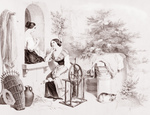 Free Picture of Women Stitching and Using a Spinning Wheel