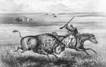 Free Picture of Men Hunting Buffalo on the Great Plains