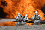 Free Picture of Soldiers Fighting a Fire