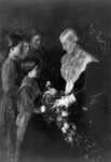Free Picture of Children Giving Susan B Anthony Flowers