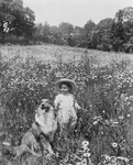 Free Picture of Child and a Collie Dog in a Field