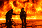 Free Picture of Firemen Fighting a Fire