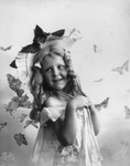 Free Picture of Little Girl With Butterflies
