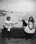 Free Picture of Children and Dog Near the Ocean