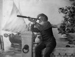Free Picture of Old Man Using a Spyglass