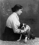 Free Picture of Helen Keller With a Dog
