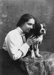 Free Picture of Helen Keller With a Boston Terrier Dog
