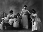 Free Picture of Women and Children Playing Blind Man's Bluff