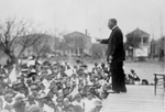 Free Picture of Booker T Washington Speaking to Children