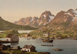 Free Picture of Ship and Waterfront Homes, Raftsund, Lofoten, Digermulen, Norway