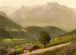 Free Picture of Dirt Road and Houses by Mountains, Switzerland