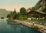 Free Picture of People in a Boat Near a House, Brienz Lake