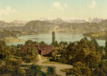 Free Picture of House on Lake Lucerne, Swiss Alps in the Background