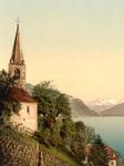 Free Picture of Church on Geneva Lake, Dent du Midi Mountains