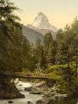 Free Picture of Person Crossing Vispach Bridge, Matterhorn Mountain