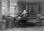 Free Picture of Charles Dickens Seated at a Desk