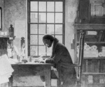 Free Picture of Benjamin Franklin Working at a Desk