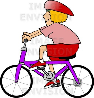Blond Woman in Pink and Red Riding a Purple Bike Clipart