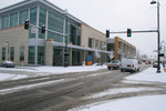 Snowfall at the Public Library in Medford, Oregon