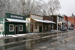 Buildings in Historic Jacksonville, Oregon with Snow