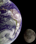 Photo of The Earth and Moon in the Blackness of Outer Space