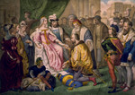 Christopher Columbus Kneeling in Front of Queen Isabella I