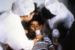 Cholera Patient is Drinking Oral Rehydration Solution (Ors) in order to Counteract his Cholera-Induced Dehydration