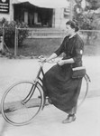 Female Telegraph Messenger on Bike